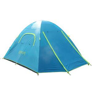 Campingzelt Familienzelt für 4 Personen mit Alu-Gestänge blau