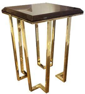 Casa Padrino Luxus Art Deco Beistelltisch Dunkelbraun / Gold 50 x 50 x H. 68 cm - Art Deco Wohnzimmer Möbel