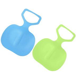 2er Pack Schneegleiter Kinder Schneeschlitten Poporutscher Schnee Flexibel Kunststoff Rutscher Schlitten (Blau+Grün)