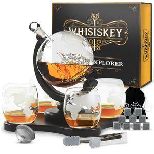 Whisiskey® Whisky Karaffe - Globus - Whiskey Set - 900ML – Inkl. 9 Whisky Steine, 4 Whisky Gläser & Ausgießer - Whisky Dekanter - Geschenke für Männer – Whiskygläser - Natursteine