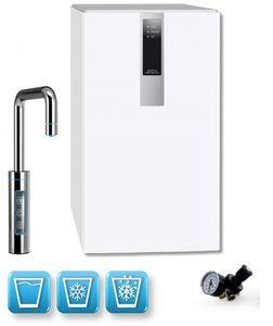 Einbau-Tafelwasseranlage BLACK & WHITE DIAMOND (Option CO2 Eigentumsflasche: ohne CO2 Flasche / Armatur: U-Auslauf / Farbe: weiß)