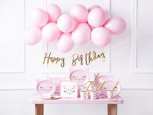 Deko-Set Geburtstag Katze rosa 55tlg.