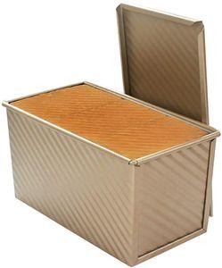 Teig Toast Brot Backform Gebäck Kuchen Brotbackform Mold Backform mit Deckel(Gold-Rechteck-Welle)