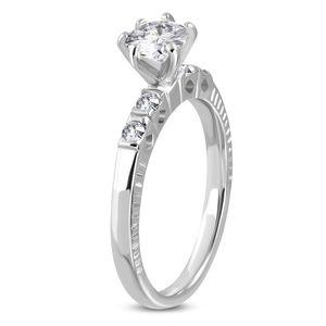 Verlobungsring Zirkonia Kristalle Damen-Ring Solitär-Ring Edelstahl Autiga® silber 57 - Ø 18,05 mm