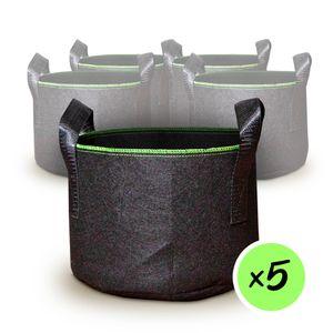 5 Stück Pflanzsäcke (40Liter -Inhalt) aus Vliesstoff | 5x Pflanztasche Pflanzbeutel Pflanzgefäß Pflanzsack Pflanzbehälter Pflanzkübel | Gurt-Griffe Gärtnerei Gewächshaus Pflanztopf wiederverwendbar luftdurchlässig schimmelvermeidung : 40L