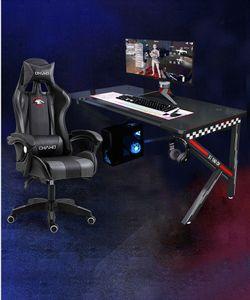 Groß Gaming Tisch mit Gaming Stuhl Schreibtisch Gaming Desk Office Desk SET 120x60x74cm mit Stuhl