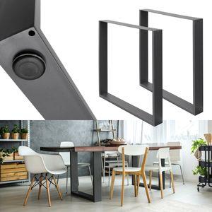 ECD Germany 2 Stück Tischbeine - 60 x 72 cm - aus pulverbeschichtetem Stahl - Dunkelgrau - Industriedesign - Tischgestell Tischuntergestell Set Tischkufen Tischfüße