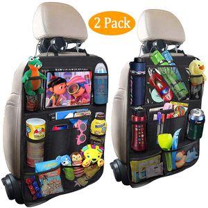 2 Stück Auto Rückenlehnenschutz, Rücksitz Organizer für Kinder, Große Taschen und iPad-/Tablet-Fach, Wasserdicht Autositzschoner, Kick-Matten-Schutz für Autositz