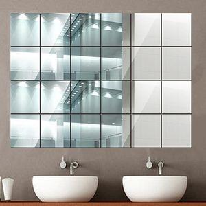 40X Spiegelfliesen Wandspiegel PVC Spiegelfolie Selbstklebend Aufkleber