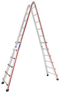 """Hymer Teleskopleiter """"TELESTEP®"""", 4x6 Sprossen, senkr. Höhe Stehleiter 1,70 - 3,03 m, Reichhöhe 4,35 / 7,20 m, Gewicht 20,0 kg"""