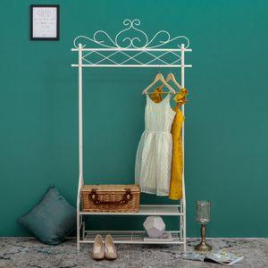 SONGMICS Garderobenständer mit Schuhregal und Stange Metall 173 x 92 x 41cm im Vintage-Stil Beige HSR07W