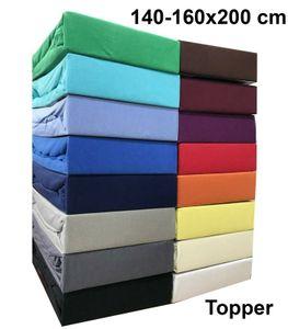 Jersey Topper Spannbettlaken 140-160x200 cm Spannbettuch 100% Baumwolle Bettlaken, Schwarz