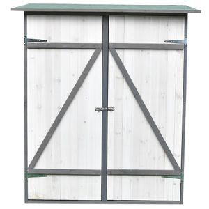 Melko Gartenschrank mit Pultdach und Doppelflügeltür Weiß/Grau Holz Gerätehaus 162 x 140 x 75 cm, inkl. Regal
