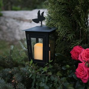 LED Grablaterne/Grablicht 'Serene' mit Stab & Taube - gelbe LED - H: 40cm - Timer - schwarz