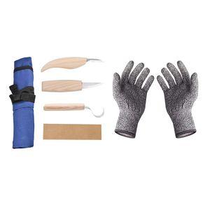 6x Schnitzwerkzeug Set Holzschnitzmesser Holzschnitzhaken mit Schutzhandschuhe