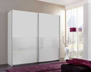 Schwebetürenschrank Kleiderschrank Bramfeld 2 weiß / Weißglas 225cm