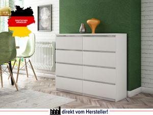 Kommode  - C013 Korpus Weiß , weiße Fronten (119cm x 100cm x 35cm)