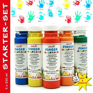 play malmit® Fingerfarbe 5er Startset Fingermalfarbe 250ml Malfarbe Kinderfarbe