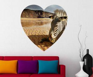 Zebra in Wüste Wandbild Herz Wandaufkleber Felswand Landschaft Wandsticker Wohnzimmer Wand Aufkleber Sticker 11D016, Wandbild Größe A:96cmx96cm