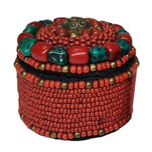 Ethnische Perlen handgefertigt Schmuckkästchen Schmuckkasten Schatulle Schmuckdose Schmuckbox Kosmetikkoffer für Damen, 7,5 cm