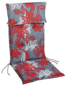 BEST Niederlehnerauflage Trend l Sesselauflage 100x50cm l Rot Grau