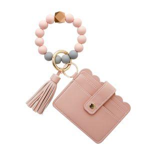 Damen Card Wallet Armband Schlüsselanhänger Armreif Schlüsselanhänger Wristlet Farbe Pfirsichpollen