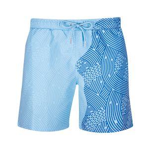 Herren Aquarellwechsel Badehose Strandhose Warme Farbwechsel Shorts Größe:XXL,Farbe:Blau
