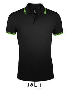 Herren Polo Shirt Pasadena - Farbe: Black/Lime - Größe: L