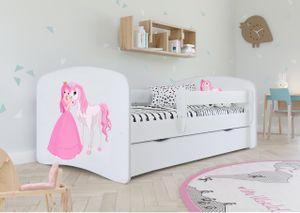 Kinderbett Jugendbett 80x160 cm Weiß mit Rausfallschutz Schublade und Lattenrost Kinderbetten für Mädchen und Junge - Prinzessin und Pferd