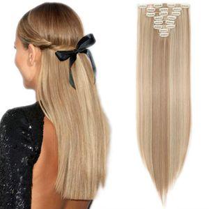 S-noilite Clip in Extensions Haarverlängerung Haarteil 8 Tresssen wie Echthaar glatt