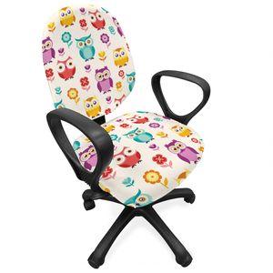 ABAKUHAUS Eulen Bürostuhl Schonbezug, Blumen Nostalgic Kinder, dekorative Schutzhülle aus Stretchgewebe, Mehrfarbig