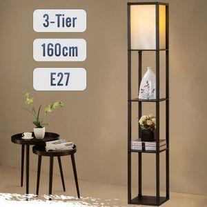 Stehlampe mit Regal Holz LED E27 Innenbeleuchtung   Stehleuchte  für Schlafzimmer und Wohnzimmer  Schwarz