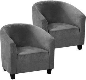 2 Stück Club Chair Schonbezug Sesselschoner Sesselüberwurf Stretch Samt Sofahusse Elastisch Wannenstuhlbezug Sesselüberzug für Clubsessel Loungesessel Cocktailsessel (Grau)