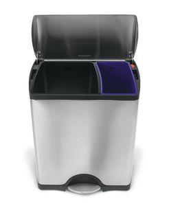 simplehuman 46 Liter rechteckiger Recycler, fingerabdrucksicherer Edelstahl - 10x10x54,4 cm; CW1830