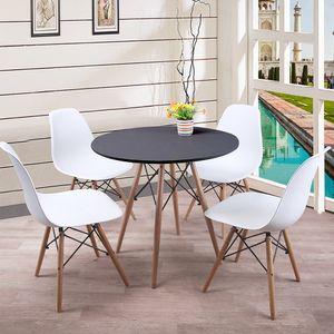 WYCTIN Esstisch(schwarz) mit 4 Stühlen Weiß, Esszimmertisch
