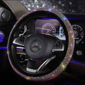 Bling Bling Lenkradabdeckung mit Kristall-Strass-Diamant, Universal Fit 15-Zoll-Rutschschutz, Lenkradschutz für Frauen, Mädchen (FXPT)
