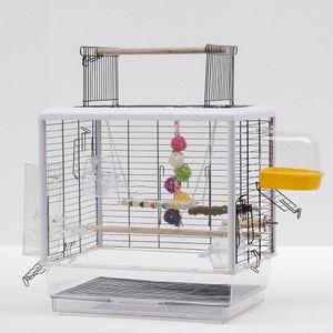 Vogelkäfig Vogelvoliere mit Spielzeug Papageienkäfig wellensittichkäfig Vogelhaus Cage Vision Transparent 47x35x(47.5-60)cm
