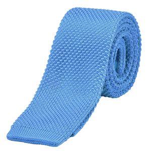 DonDon schmale Strickkrawatte 5 cm - hellblau
