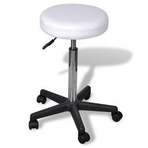 【Neu】Bürostühle Rollhocker höhenverstellbar WeißMöbel-Büromöbel-Bürostühle im Landhaus-Stil
