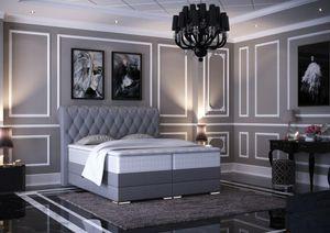 Baron Chesterfield Boxspringbett mit Bettkasten Grau Stoff - 180 x 200 cm