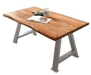 SIT Möbel Baumkante-Esstisch aus Akazie | 36 mm Platte naturbelassen | A-Gestell Metall antiksilbern | B 160 x T 85 x H 77 cm | 15390-40 | Serie TABLES & CO