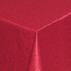 Moderno Ornamente eckig 130x170 cm Wein-Rot Tischdecke Damast
