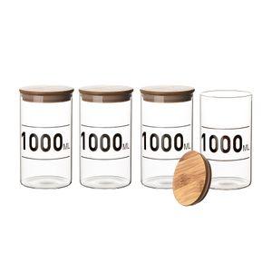 4x Vorratsglas 1 Liter Bambusdeckel Glas 1000 ml Aufbewahrungsglas Lebensmittelglas Steckdeckel mit