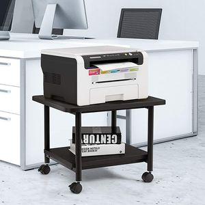 GOPLUS Druckertisch mit Arretierbaren Räder, Rollcontainer mit 2 Ablagen, Rollwagen für Schreibtisch, Drucker Ständer aus Holz, um 360° Drehbare Räder, Multifunktionswagen für Zuhause Büro (Schwarz)