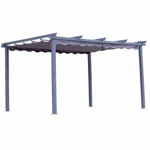 Angel Living Pergola aus Aluminium in anthrazit, Dachrohre aus Stahl, Verstellbares Dach aus Polyester (3x4m, Grau)