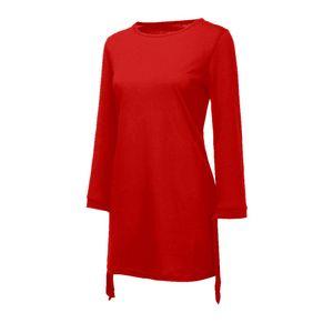 Damenmode O-Ausschnitt Solid Bow Elegant Straigth Kleid Spring Loose Mini Kleider Größe:XL,Farbe:Rot