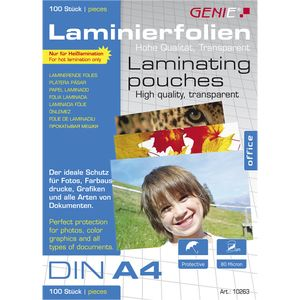 100 St. Genie Laminierfolien DIN A4 (80 Micron)  Premium Laminierfolien Laminierfolientaschen