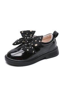 Kids Toddler Girl Bowknot Leather Shoes Flats Princess Shoes,Farbe: schwarz,Größe:32