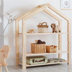 Selsey Kinderregal JAFARI - Standregal in Hausform aus Kiefernholz mit 3 Ablagen, ca. 126x113x40 cm