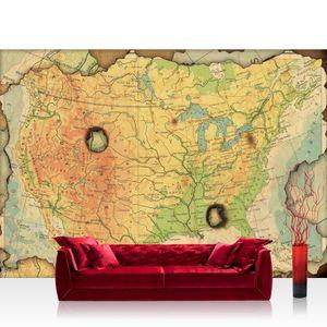 Vlies Fototapete no. 4314  - 312X219 cm Städte & Länder Tapete Landkarte Karte Kontinent Vintage Globus Atlas Reise gelb